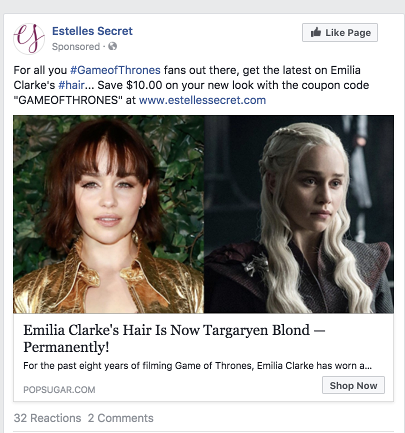 Facebook Advertising Game of Thrones Tie-In