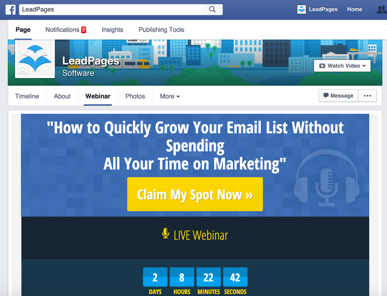 An example of using a custom Facebook tab to generate leads via a webinar