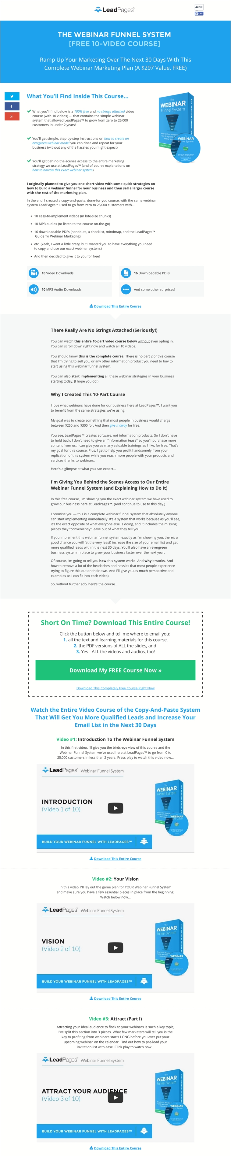 The Webinar Funnel System Landing Page